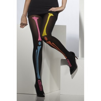 Collants squelette fluo