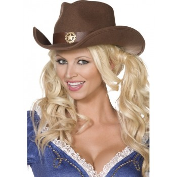Chapeau cowgirl marron...