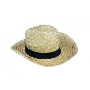 Chapeau cow-boy en paille naturelle