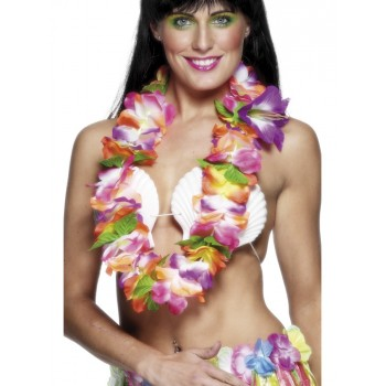 Large collier hawaien multicolore deluxe