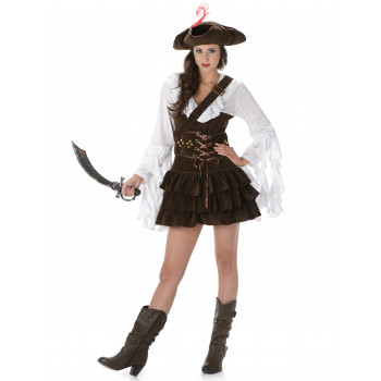 Costume pirate marron pour...
