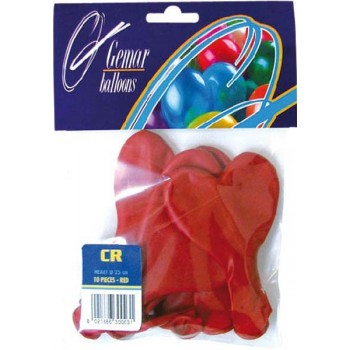 Lot de 10 ballons coeur rouge