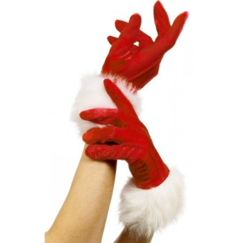 Gants rouges velours noël...