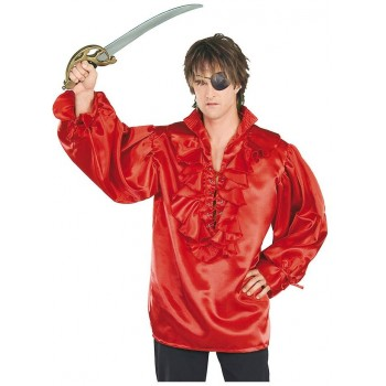 Chemise pirate satin rouge
